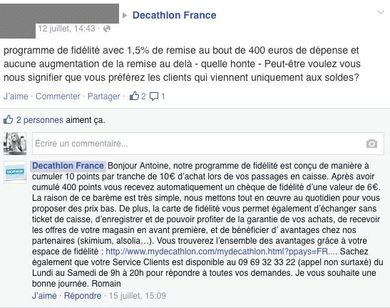 Réponse commentaire par CM Décathlon