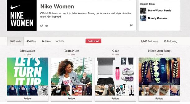Social media: compte Pinterest Nike Women