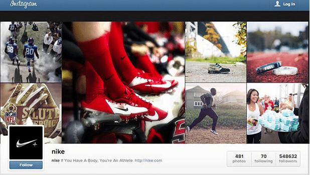 Social media: compte instagram Nike