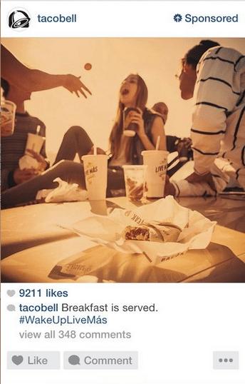 Publicité Instagram: TACO BELL