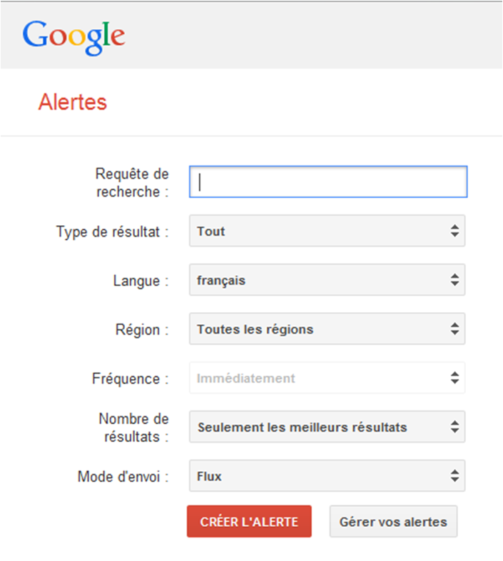 interface Google Alertes