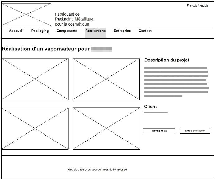 Exemple de wireframe d'un site web