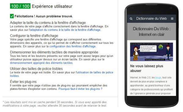 Test de site mobile Google