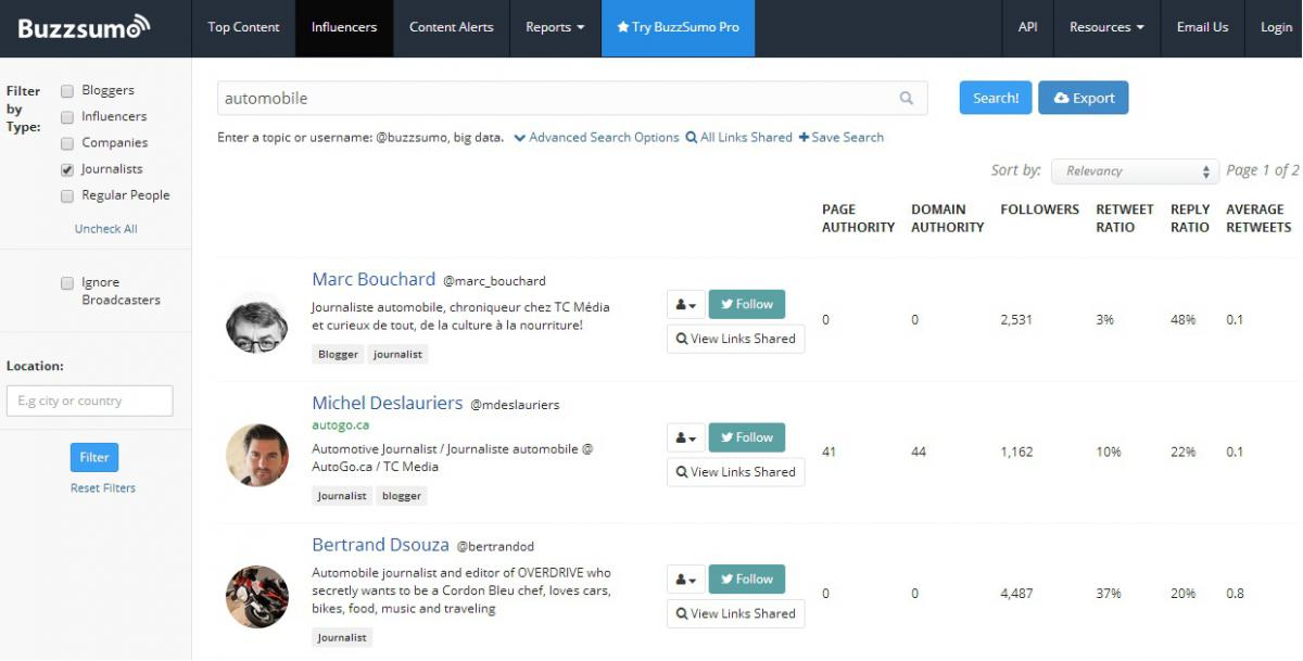 Screenshot Buzzsumo